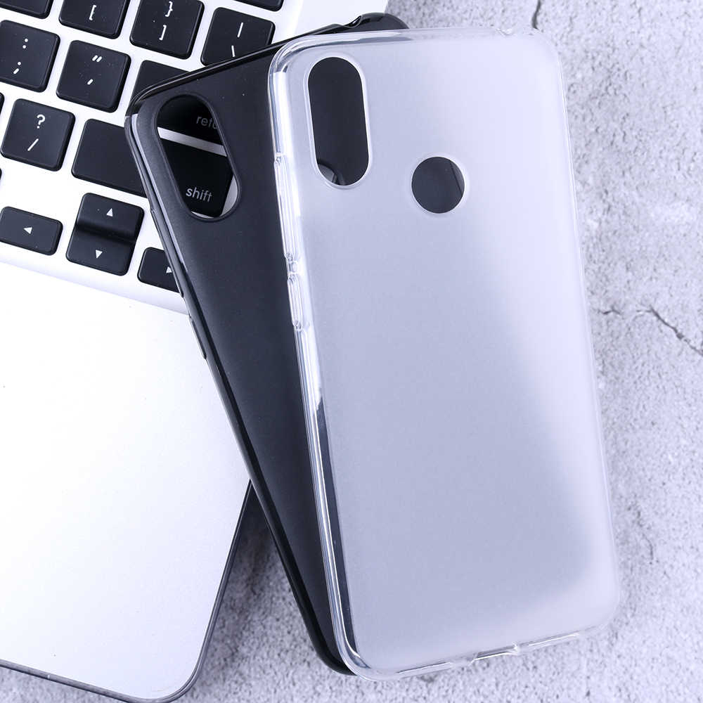Matt Surface White Black Plain Cubot X19 Case TPU Soft Silicone Non-slip Half-wrapped Back Phone Case for Cubot X19 Squishy