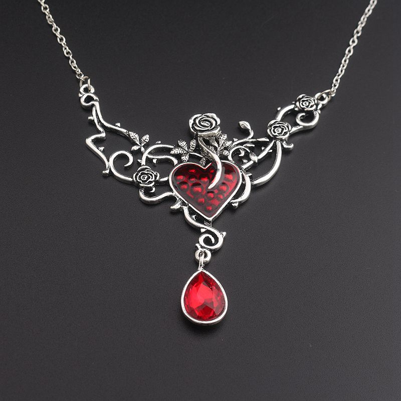 Classical Gothic Rose Vintage rose flower heart crystal Necklace enamel Pendant Fashion Men Women Jewelry
