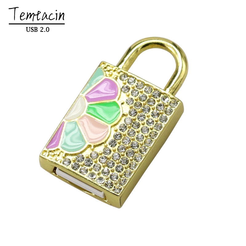 Real Capacity Hot Selling Jewelry Crystal Lock USB Flash Drive Pen Memory 4GB 8GB 16GB 32GB USB Flash Drive USB Drive