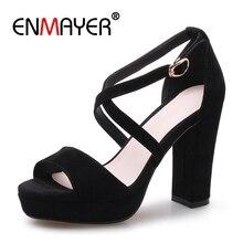 ENMAYER  Buckle Strap Casual Basic Women Sandals Summer 2019 High Heel Shoes Size 34-39 ZYL2466