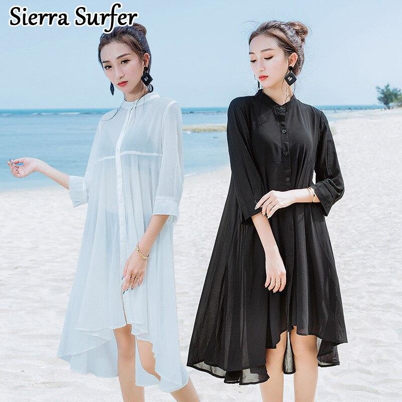 Summer Beach Wear Bathrobe Beachwear Ladies Kaftan Coverups For Women Bathing Suit Covers New Loose Chiffon Beach Bikinis Woman