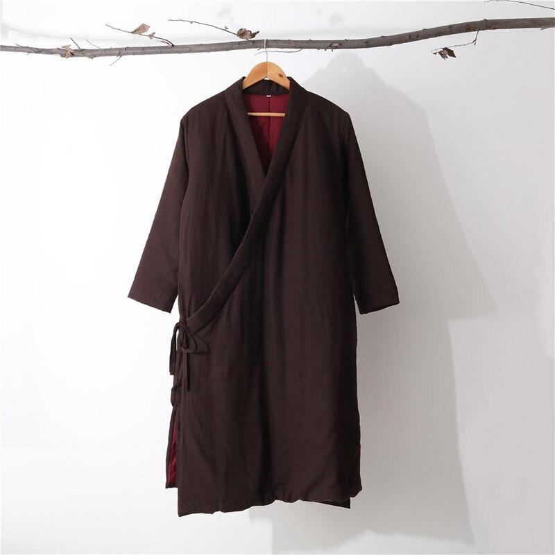 Hisenky hommes hiver Trenchcoat Style chinois Long coupe vent Hanfu Robes épais chaud manteau Vintage coton rembourré vestes 4 couleurs - 5