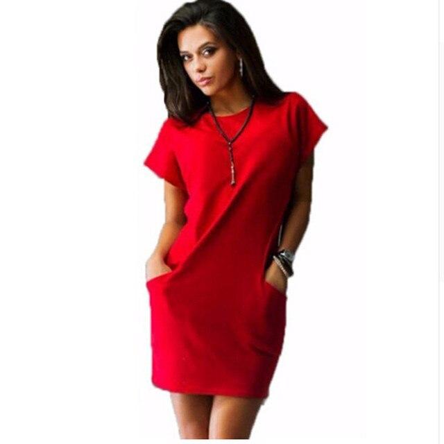 2018 Summer Women Dresses With O-Neck Plus Size Dress Casual Robe With Short Sleeve Pockets Mini Shirt Dress New Fashion Vestido