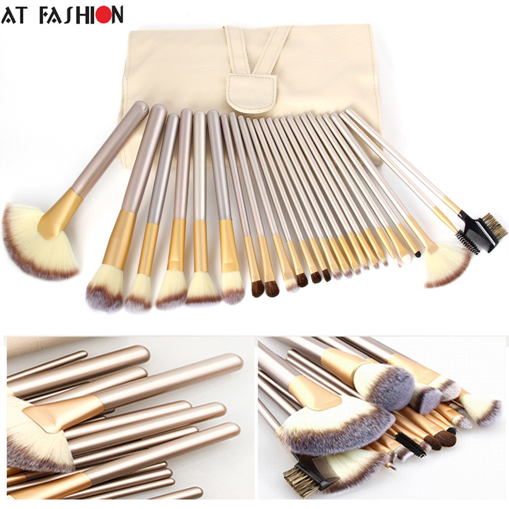 At Fashion High Quality 24 Makeup Brushes Professional Powder Foundation Brush Set Cosmetic Make Up Tools blush brush with Bag professional 24pcs set champagne makeup brushes powder foundation blush brush high quality cosmetic make up tools kits with bag