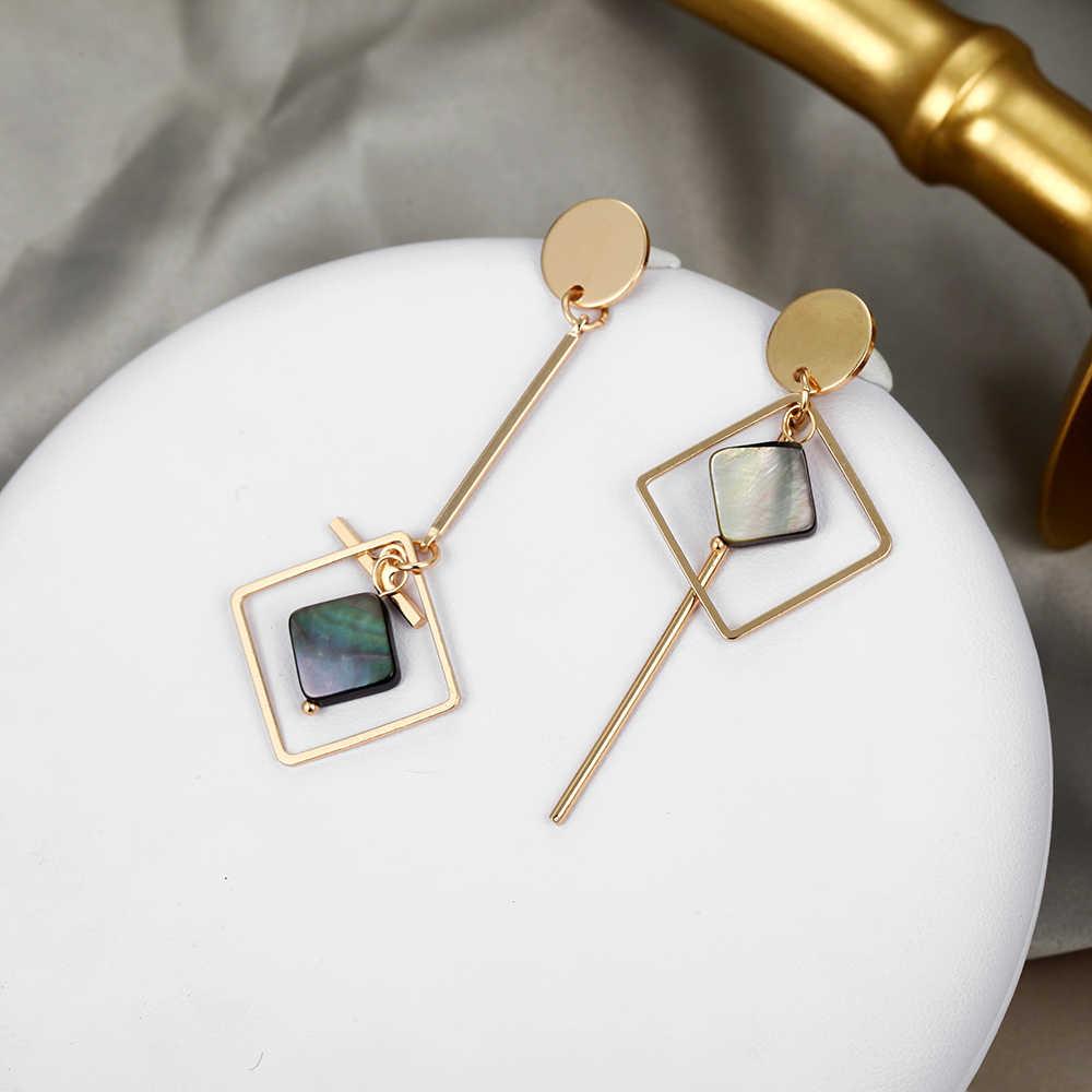 Einfache Asymmetrische Ohrringe Für Frauen Acryl Ohrringe Gold Runde Platz Geometrische Ohrringe Koreanische Stil Mode Pendientes