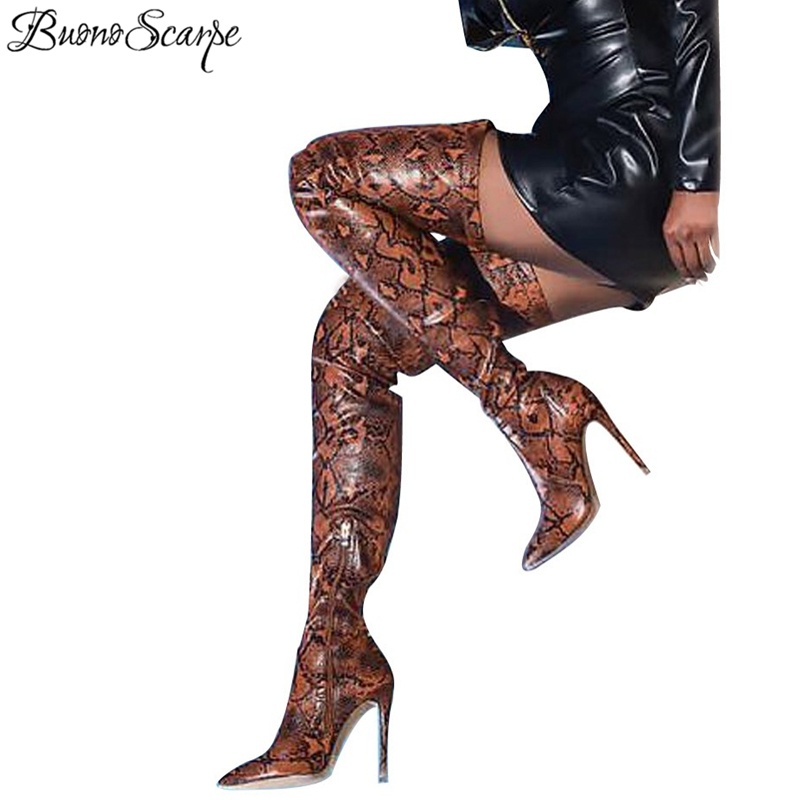 BuonoScarpe Women Slip On Thigh High Sexy Long Boots Snake Printed 13CM High Heel Boots Pointed