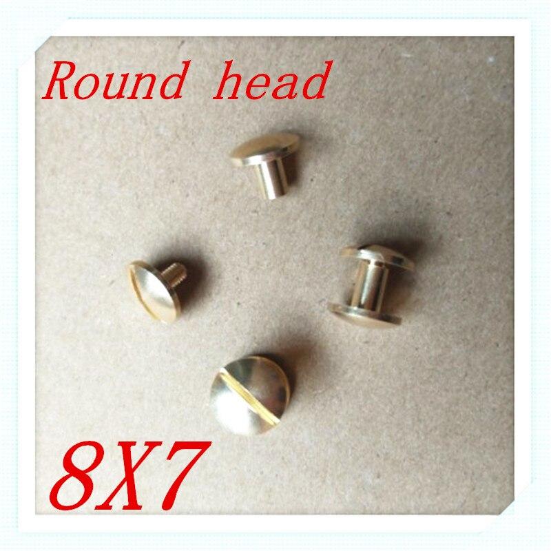 50 компл. 8*7 мм круглый носок Твердый латунный Чикаго Заклёпки шпильки винт Screwback для кожи Craft Сумки Обувь