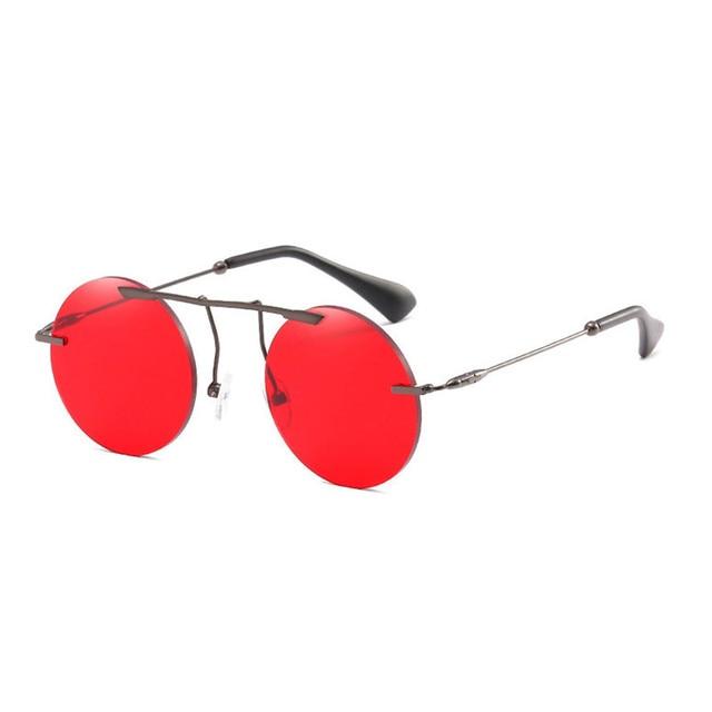 ad55de5801 Red Lenses Round Sunglasses Men Women Vintage Big Metal Frame Hipster Punk  Mirror Sun Glasses For