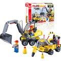 196 pcs DIY cidade equipe de engenharia montar Brinquedos escavadeira de brinquedo blocos partículas pequenas de construção de brinquedo educativo cedo J319