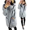 Winter women basic coats fashion side zippers coat turn down collar bomber jacket jaqueta feminina pockets puff sleeve T510