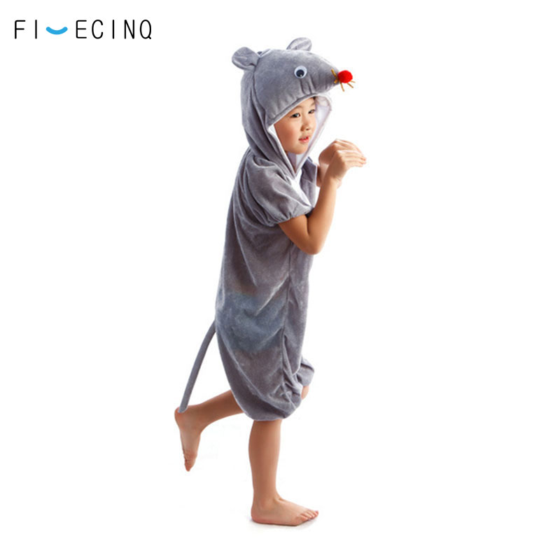 Home Animal Small Mouse Cosplay Costume Boy Girl Child Cartoon Pajama Gray Short Sleeve Funny Suit Halloween Carnival Jumpsuit Kids
