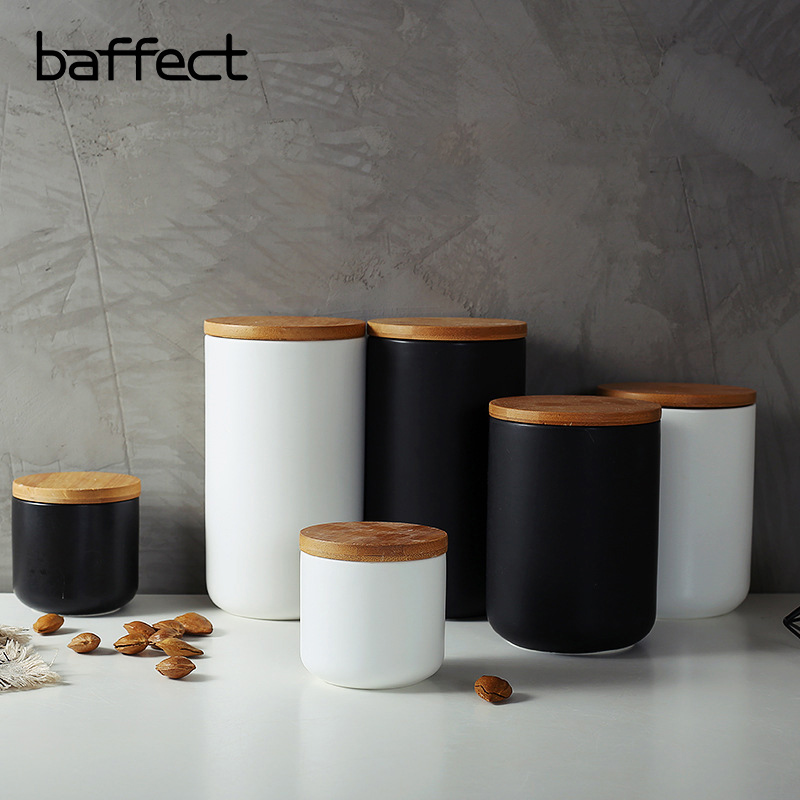 Baffect Sealed Ceramic Storage <font><b>Containers</b></font> For Coffee Tea Candy Spices Salt Cereals With Lid Kitchen Storage Jars 260/800/1000 ML image