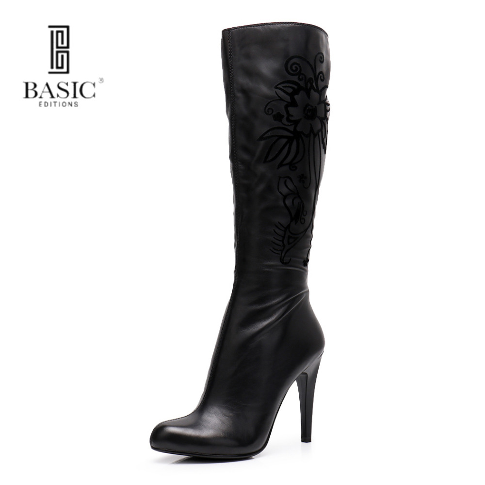 Basic Edition Women Spring Autumn Mid Calf Zipper Embroidery Genuine Leather Super High Thin Heel Casual Boots - H881-T1401 new arrival superstar genuine leather chelsea boots women round toe solid thick heel runway model nude zipper mid calf boots l63