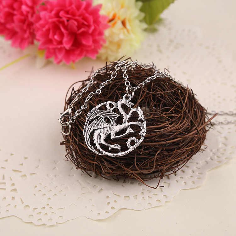 Vintage gelo e fogo jogo de tronos daenerys targaryen dragão colar distintivo link corrente colar