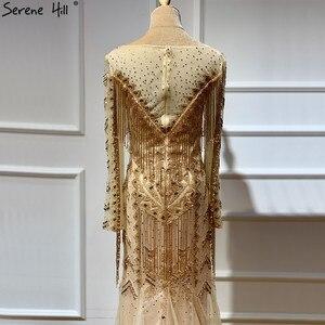 Image 5 - Dubai Design Long Sleeves Luxury Evening Dresses 2020 Gold Beading Tassel Evening Dress Long Real Photo LA60780