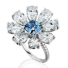 ФОТО zhixun luxury blue&white stone bright silver floral crystal rings bague for women girl anniversary party jewelry classic anillos