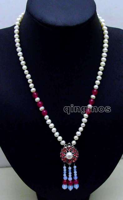 "SALE 6-7mm White Round Natural Freshwater Pearl with 25mm Rose red Pendant 20"" necklace-nec6086 wholesale/retail Free shipping"