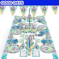 90pcs/set Girl Kids birthday Mermaid Party Theme Baby Birthday Party Decorations Kids Evnent Party Supplies Decoration Wedding