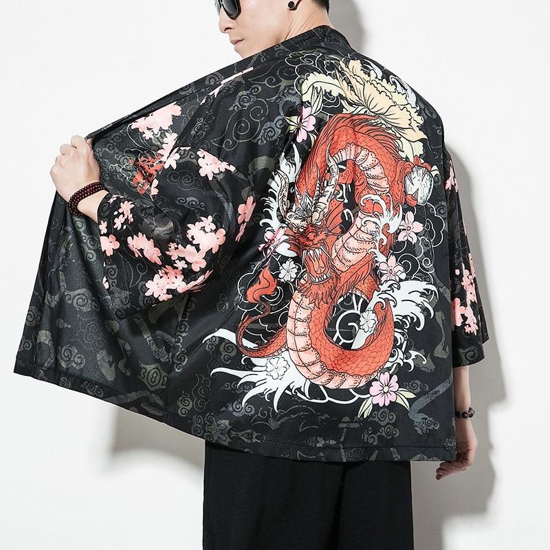 Kimono Men Black Japanese Kimono Men Samurai Costume Male Yukata Haori Japanese Streetwear Clothing Mens Kimono Jacket DD001