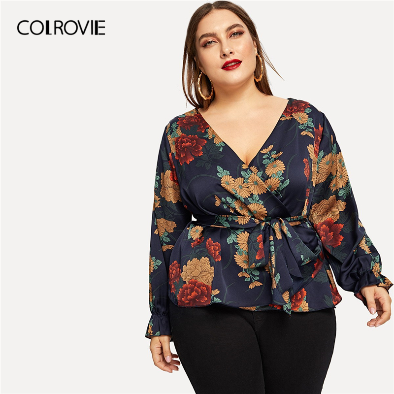 COLROVIE Plus Size Floral Print Self-Tie Waist Blouse Shirt Women Clothing 2019 Spring Fashion V Neck Shirts Elegant Ladies Tops