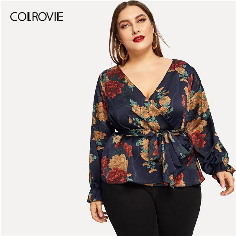COLROVIE Plus Size Floral Print Self-Tie Waist Blouse Shirt Women Clothing 2019 Spring Fashion V Neck Shirts Elegant Ladies Tops