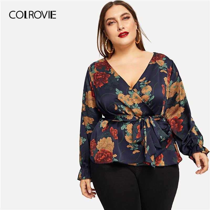 38ef0ce0eb COLROVIE Plus Size Floral Print Self-Tie Waist Blouse Shirt Women Clothing  2019 Spring Fashion