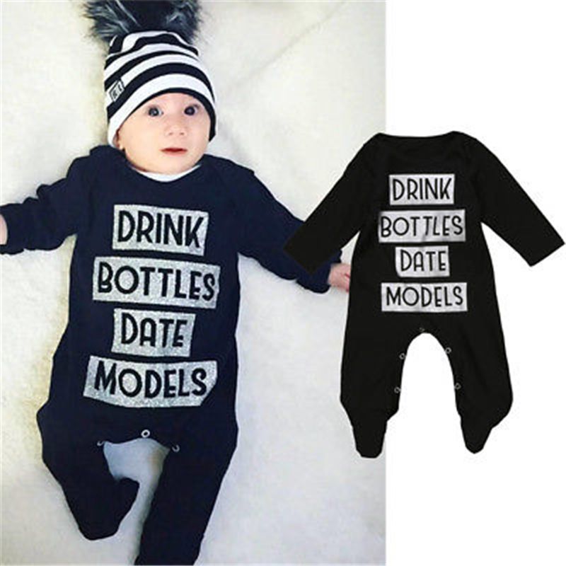 Baby Letter Cotton Romper Newborn Baby Boys Girls Long Sleeve Romper 2017 New Warm Hot Body Suit For Newborns Kids Clothes 3-18M