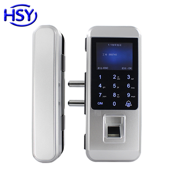 цена на Glass Door Lock Office Keyless Electronic Fingerprint Locks Touch Keypad Smart Card Access Control and Time attendance