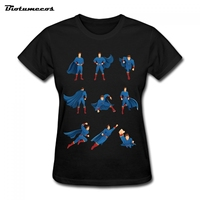 2017 Casual Super Man Wear Blue Capes Flying Running And Other Post T Shirt Women Tees