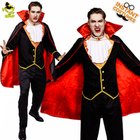 QLQ Men's Vampire Costume Cosplay Deluxe Vampire Halloween Party Masquerade Vampire Clothes Role Play Purim Party