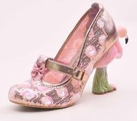 Роскошный вышивать Фламинго Птица каблук Женская обувь Туфли с ремешком и пряжкой женские туфли лодочки Sapatos Feminino розовый кружева Bling обувь