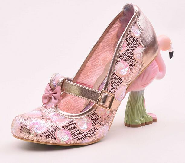 Luxury Embroider Flamingo Bird Heel Women Shoes Buckle Strap Lady Pump  Sapatos Feminino Pink Lace Bling Bling Shoes 9d75d6fb9998