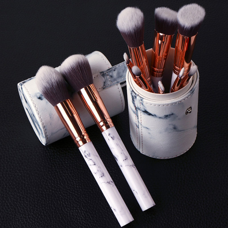 Professional Makeup Brush Set 10pcs Kit Foundation eyeliner Eyebrow Lip Brushes Tools cosmetics Kits with Leather Cup Holder New new eyebrow makeup kits
