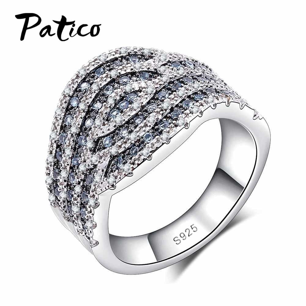 Patico 925 серебро Обручальные кольца для Для женщин синий ясно CZ Кристалл на день рождения камень палец Кольца обещание Юбилей Анель