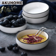 European Style Ceramic Beef Dishes Simple and Creative Salad Plates Black Stripe China Bone Kitchen Sauce Dish Akuhome