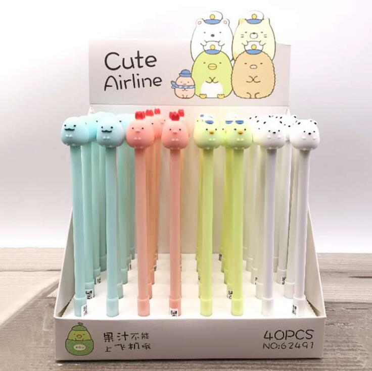 4 pcs/lot Cute Airline Sumikko Gurashi Gel Pen Signature Pen Escolar Papelaria School Office Supply Promotional Gift недорого