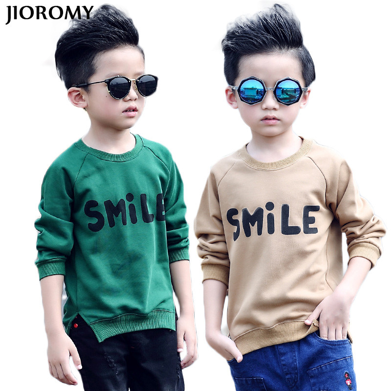 JIOROMY Big Boys T-shirt 2018 Autumn Sweater Korean Round Neck Collar Cotton Long-sleeved Letter Printing T-shirt Kids Clothes