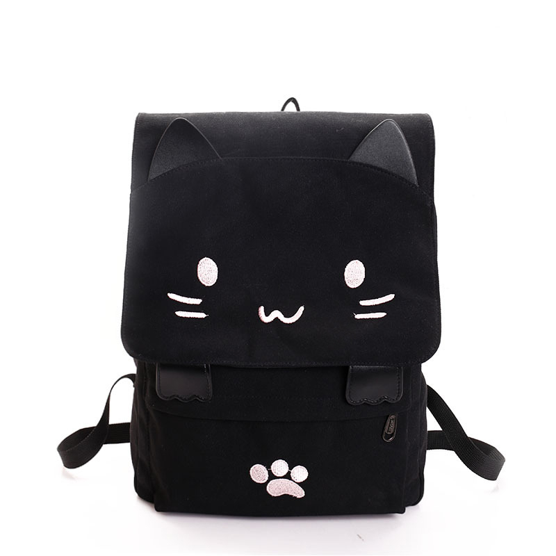Cute Cat Printing Backpack Cartoon Embroidery Canvas Backpacks For Teenage Girls Casual Black School Rucksack Sac Mochilas XA69H