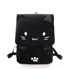 Cute Cat Backpack Cartoon Embroidery Canvas Backpacks For Teenage Girls School Bag Casual Black Printing Rucksack Mochilas XA69H