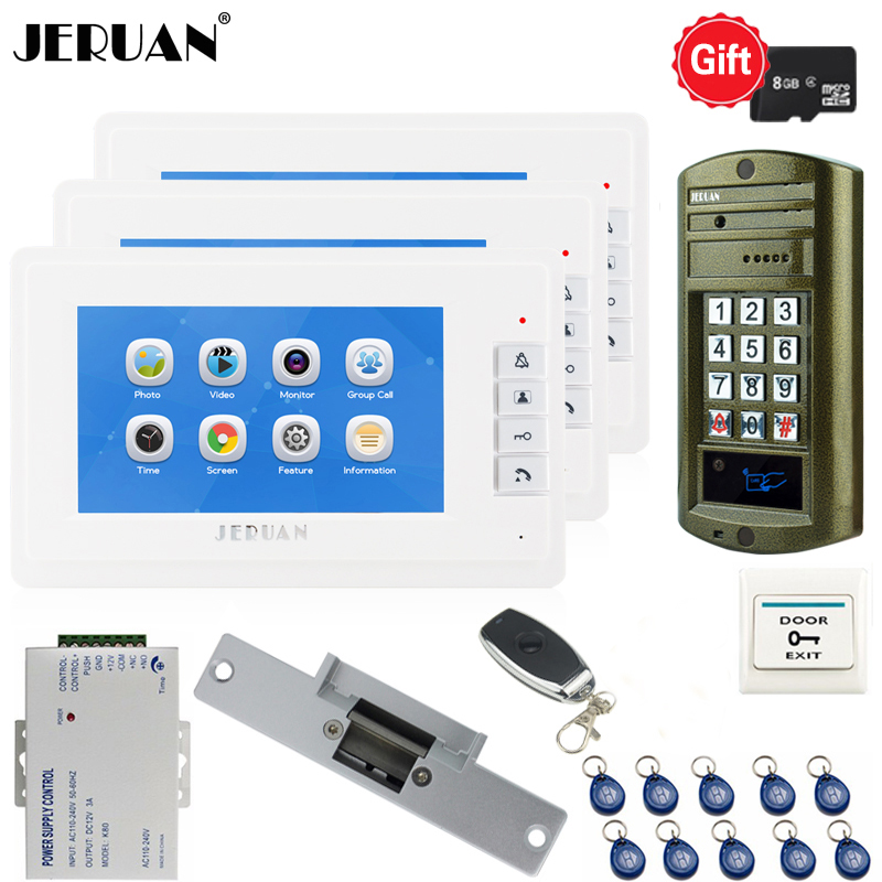 JERUAN 7`` Video Door Phone Voice/Video Recording Intercom System kit With 3 Monitors+ Waterproof password Access Mini Camera  JERUAN 7`` Video Door Phone Voice/Video Recording Intercom System kit With 3 Monitors+ Waterproof password Access Mini Camera
