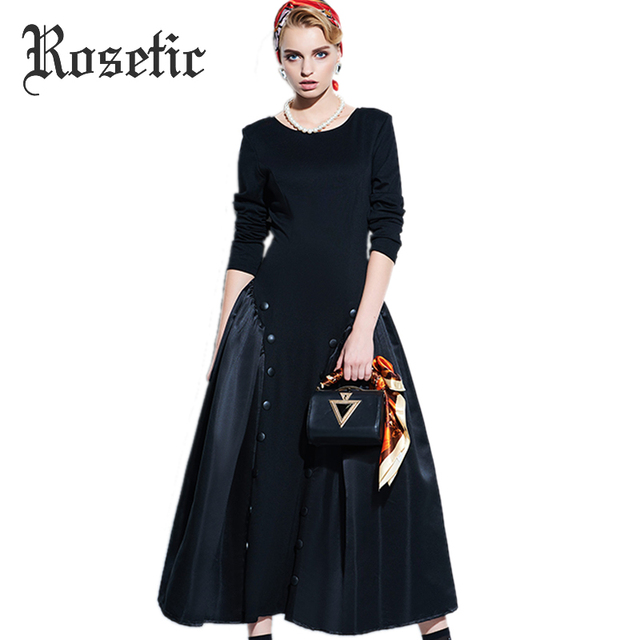 Rosetic Women Vintage Gothic Style Black Color Autumn Long Sleeve Backless Button Long Dress 2