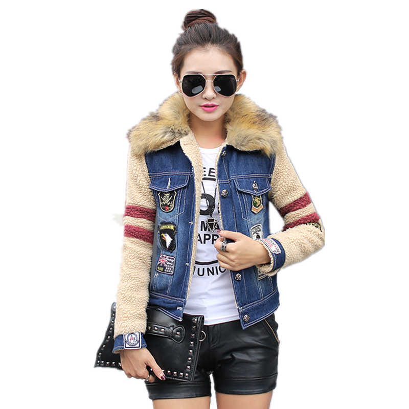 2017 Women Spring Autumn Winter New Lambswool jean Coat With Fur Collar Long Sleeves Warm Coat Outwear Wide Denim Jacket C76014M bishe spring autumn winter new 2017 fur jean denim jacket winter blue women jacket coat with hooded long sleeves warm outwear