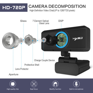 Image 2 - HXSJ USB Web Camera 720P HD 1MP Computer Camera Webcam Built in Sound absorbing Microphone 1280 * 720 Dynamic Resolution PC