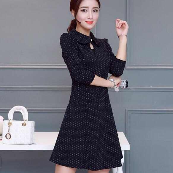 2018 новые осенние Для женщин Bodycon платье черное платье в горошек с длинными рукавами для девочек; платье из льна для тонкая элегантная для работы в офисе vertidos de Festa C39