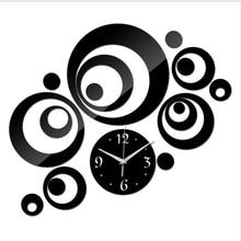 Новинка, акриловые 3D большие зеркальные настенные часы, круглые настенные наклейки, часы для украшения дома, часы для подарка