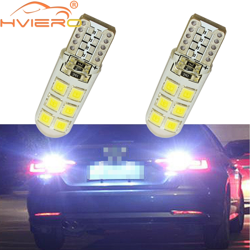 2X White Car LED T10 W5W DC 12V Canbus <font><b>12</b></font> <font><b>SMD</b></font> Silicone Waterproof 194 LED Wedge Lights No Error Bulb Parking Fog light Auto Led image