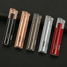 купить Mini Long Strip Grinding Wheel Gas Lighter Metal Windproof Butane Torch gasoline lighter Portable Cigarette Lighter дешево