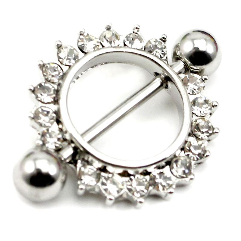 1 Pcs Amazing Stainless Steel Love Nipple Shield Bar Ring Body Piercing Clear Crystal Sunflower