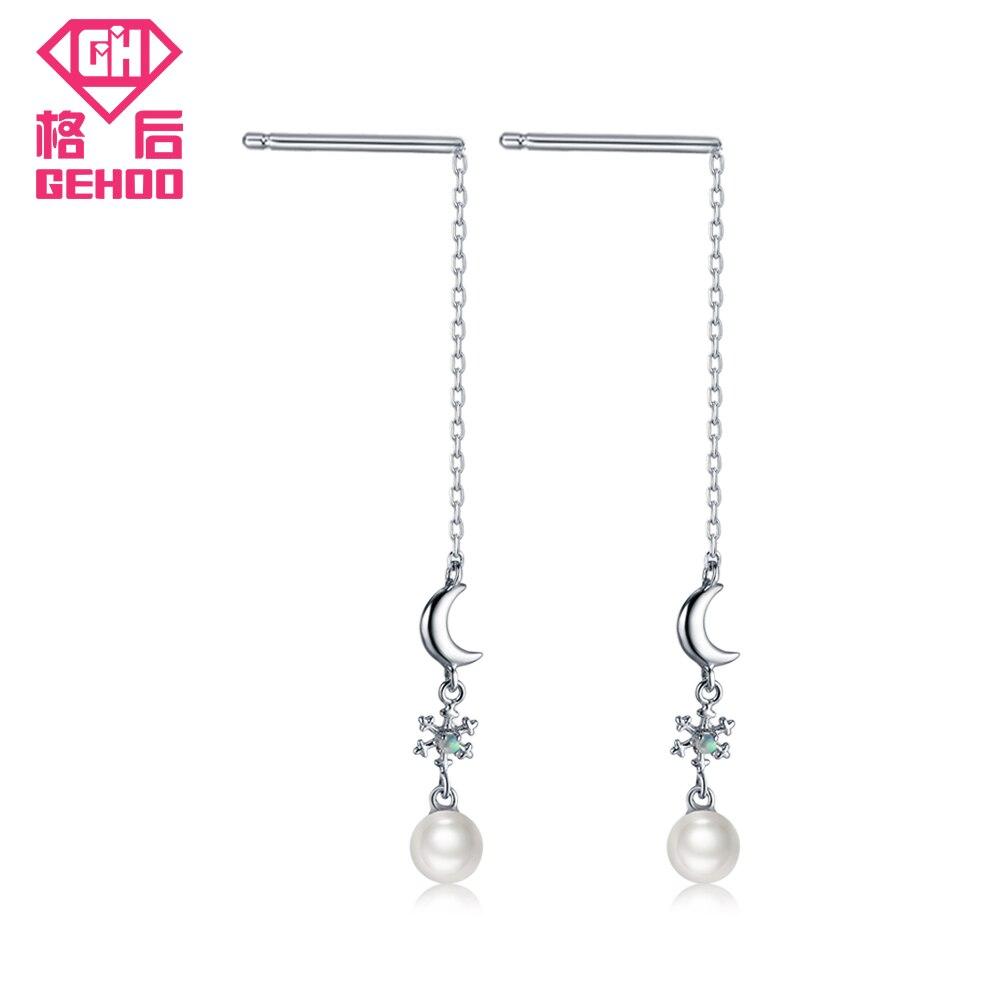 ୧ʕ ʔ୨Gehoo perla natural largo Pendientes de gota 925 Luna copo de ...
