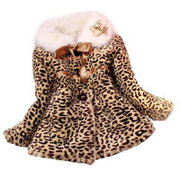 Mooistar # D003 kleine Mädchen Prinzessin Faux Fur Leopard Mantel Mädchen Warme Jacke Schneeanzug Kleidung großhandel